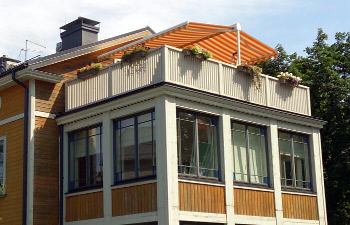 Маркиз (двойной) для кафе или просторными террасами, решения наружного затенения