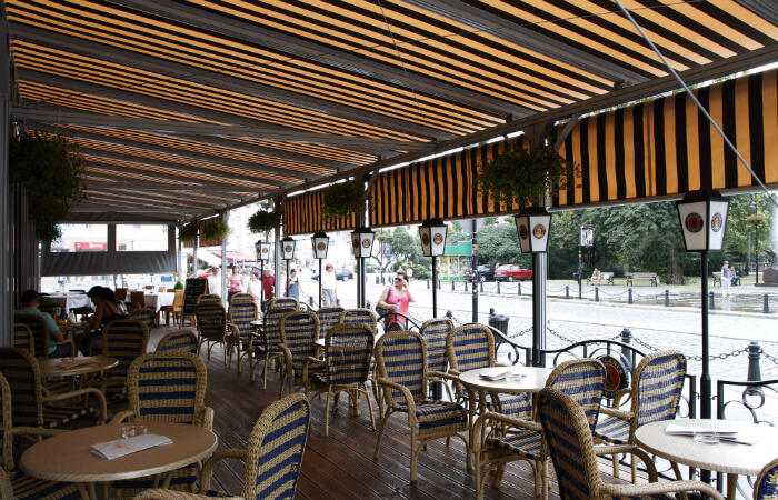 Patio roofs for private house or outside point of sales, cafeteria