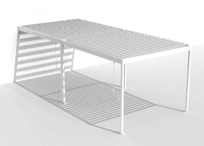 Azore – alumīnija nojume/ pergola ar sunbraker alumīnija lamelēm jumtam (ražotājs RENSON - Beļģija)